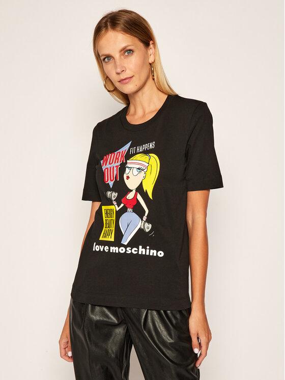 LOVE MOSCHINO LOVE MOSCHINO T-Shirt W4F152MM 3876 Černá Regular Fit