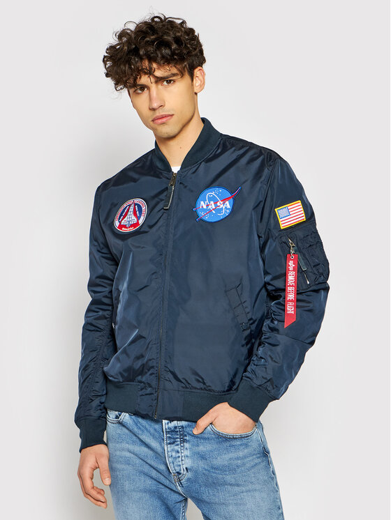 Alpha Industries Bomber striukė Ma-1 Nasa Reversible 186101 Tamsiai mėlyna Regular Fit