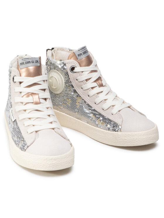 Pepe Jeans Pepe Jeans Sneakersy Portobello Girl PGS30409 Srebrny