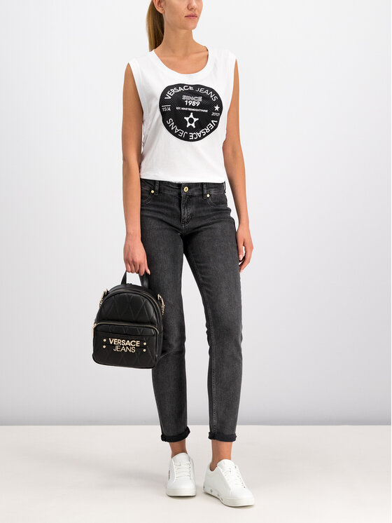 Versace Jeans Versace Jeans Топ D3HTB6T8 Бял Regular Fit
