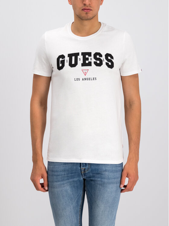 Guess Guess T-Shirt Royal College M94I58 K8FQ0 Λευκό Slim Fit