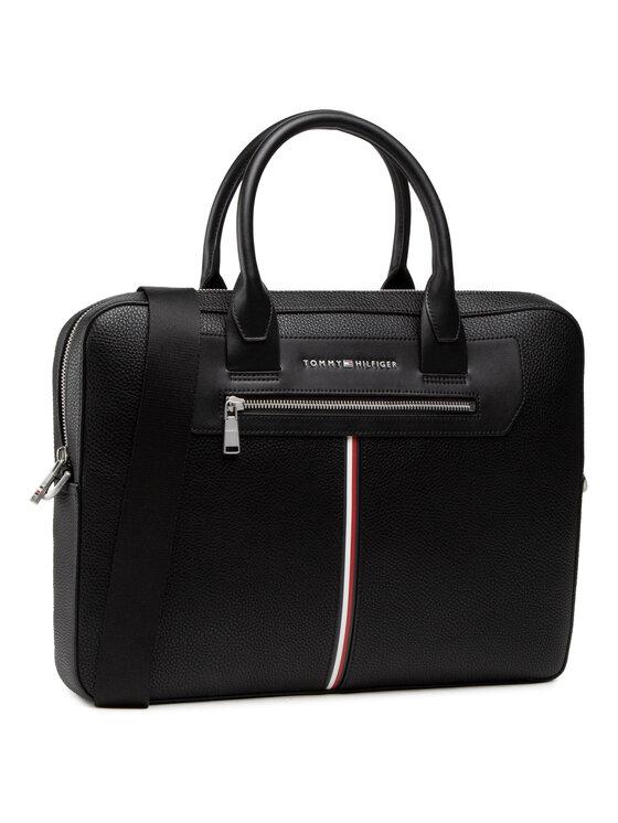 Tommy Hilfiger Torba na laptopa Th Downtown Super Slim Comp Bag AM0AM07216 Czarny