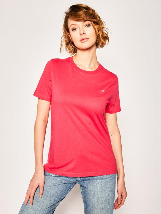 Calvin Klein Calvin Klein T-Shirt Small Logo Embroidered Tee K20K202021 Růžová Regular Fit