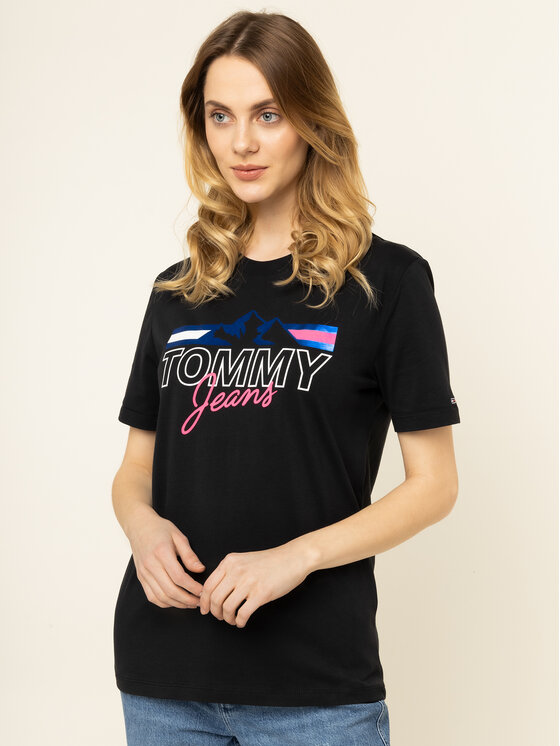 Tommy Jeans Tommy Jeans Тишърт Mountain Flag DW0DW07533 Черен Boyfriend Fit