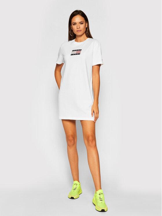 Tommy Jeans Tommy Jeans Každodenní šaty Logo Tee DW0DW08463 Bílá Regular Fit