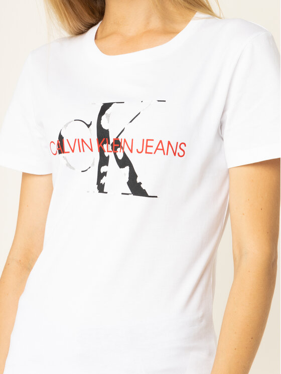 Calvin Klein Jeans Calvin Klein Jeans Póló Monogram Logo J20J213035 Fehér Slim Fit