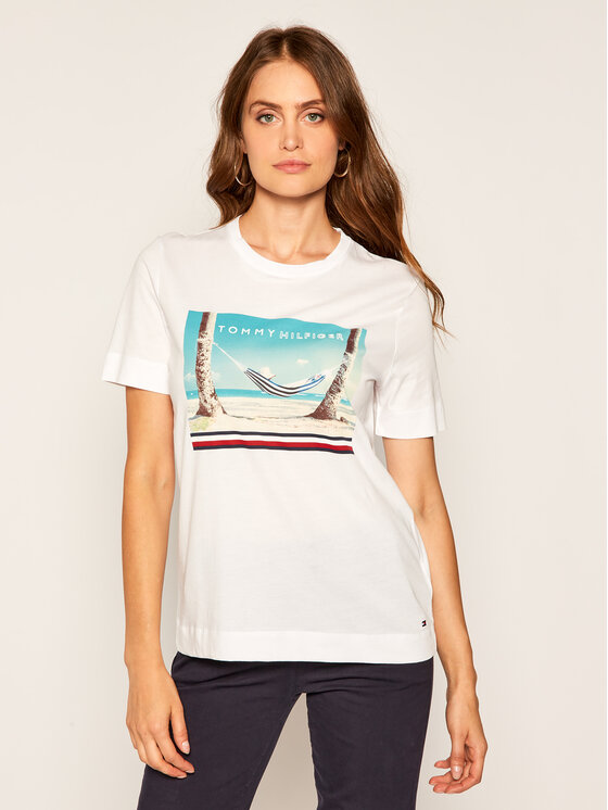 TOMMY HILFIGER TOMMY HILFIGER T-Shirt Beach Print WW0WW25178 Weiß Regular Fit