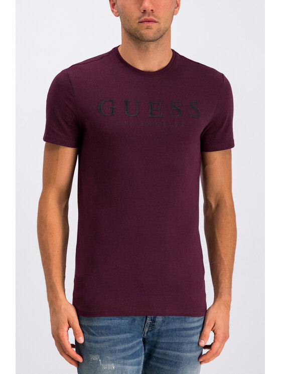 Guess Guess T-Shirt Original M94I39 J1300 Bordowy Slim Fit