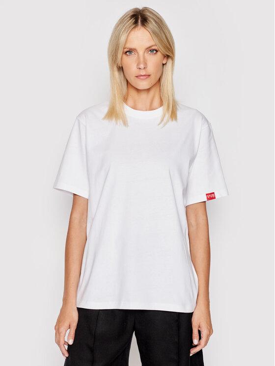Victoria Victoria Beckham Marškinėliai Single 2121JTS002393A Balta Regular Fit