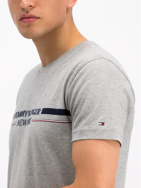 Tommy Hilfiger Tommy Hilfiger T-Shirt Stripe MW0MW10846 Šedá Regular Fit