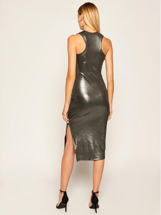 Guess Guess Sukienka koktajlowa Lupita W0YK81 K9VN0 Srebrny Slim Fit