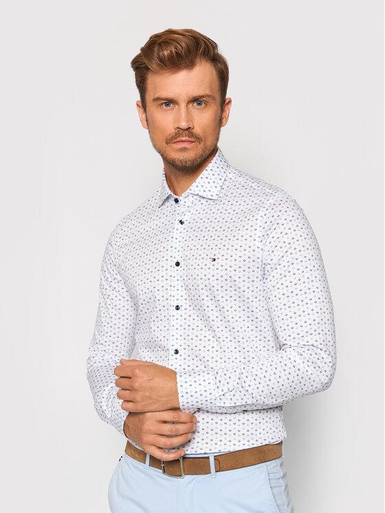 Tommy Hilfiger Tailored Marškiniai Ornament Knit MW0MW19412 Balta Slim Fit