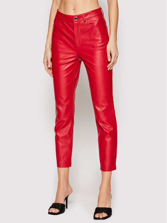 Pinko Dirbtinės odos kelnės Susan 14 PE 21 BLK01 1G15ZV 7105 Raudona Slim Fit