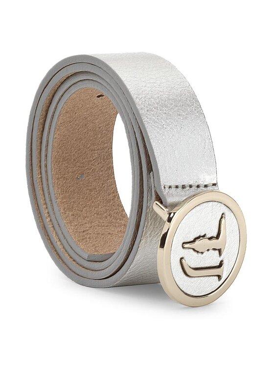 Trussardi Trussardi Jeans Pasek Damski Belt Leather Laminated 75L00017 Srebrny