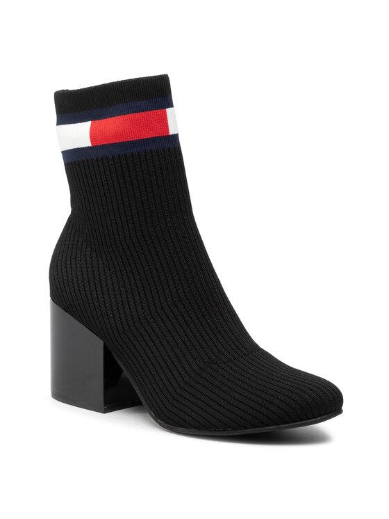 Tommy Jeans Aulinukai Flag Sock Mid Heel Boot EN0EN00699 Juoda