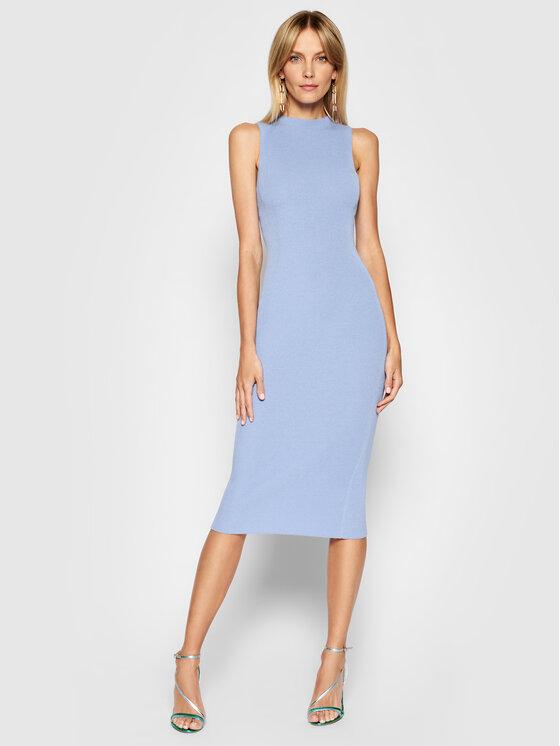 Kontatto Trikotažinė suknelė 3M7227 Mėlyna Slim Fit