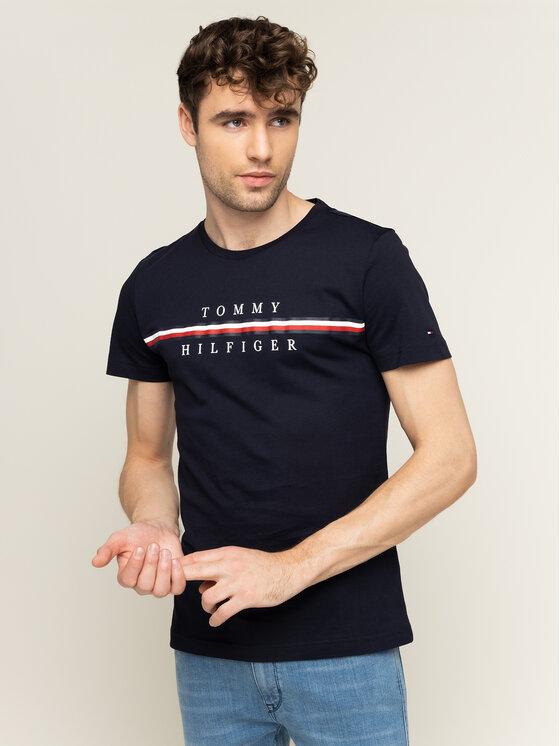 Tommy Hilfiger Tommy Hilfiger T-Shirt Corp Split MW0MW12520 Granatowy Regular Fit