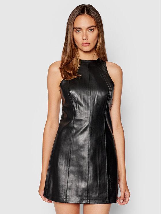 Calvin Klein Jeans Calvin Klein Jeans Sukienka z imitacji skóry J20J216263 Czarny Fitted Fit
