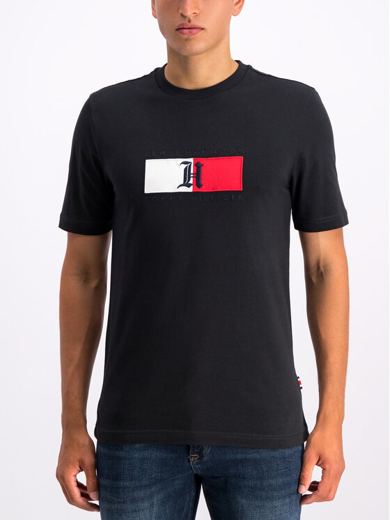 Tommy Hilfiger Tommy Hilfiger Marškinėliai LEWIS HAMILTON Flag MW0MW11428 Juoda Regular Fit