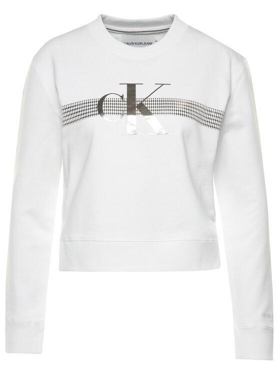 Calvin Klein Jeans Calvin Klein Jeans Džemperis Metalic Logo J20J213474 Balta Regular Fit