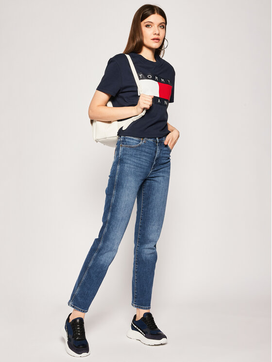 Tommy Jeans Tommy Jeans T-Shirt Flag DW0DW07153 Granatowy Regular Fit