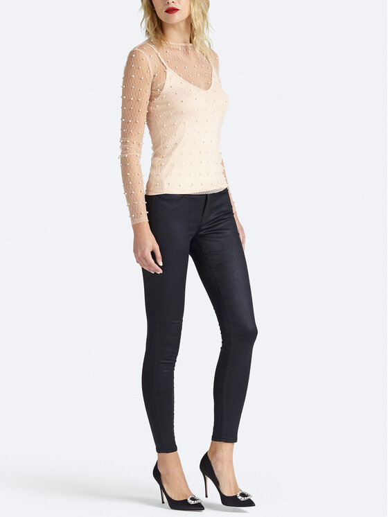 Guess Guess Παντελόνι δερμάτινο Jegging Mid W93A03 D3OZ0 Μαύρο Slim Fit