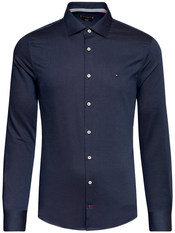Tommy Hilfiger Tailored Tommy Hilfiger Tailored Košile Dobby TT0TT08319 Tmavomodrá Slim Fit