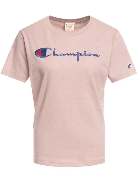 Champion Champion T-shirt Script Logo 110992 Rosa Regular Fit