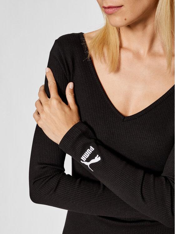 Puma Puma Džemper haljina Classics Rib Bodycon 599593 Crna Slim Fit