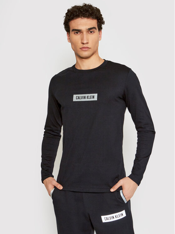 Calvin Klein Performance Marškinėliai ilgomis rankovėmis 00GMS1K141 Juoda Regular Fit