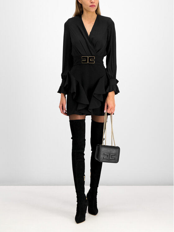 Elisabetta Franchi Elisabetta Franchi Set bluză și fustă AB-909-96E2-V399 Negru Slim Fit