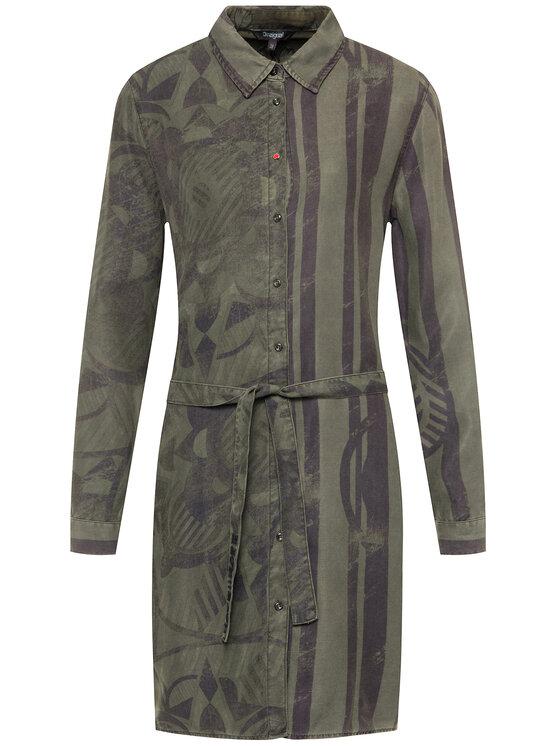 Desigual Desigual Košilové šaty 19WWVW69 Zelená Regular Fit