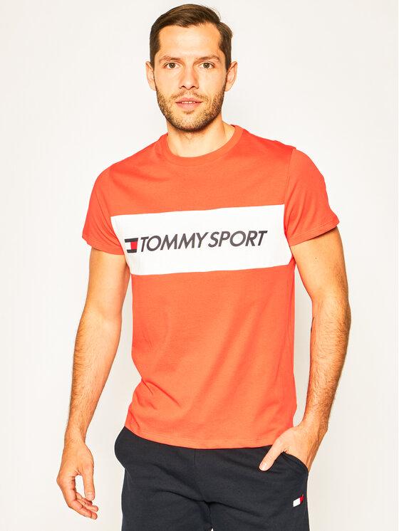 Tommy Sport Marškinėliai Colourblock Logo S20S200375 Oranžinė Regular Fit