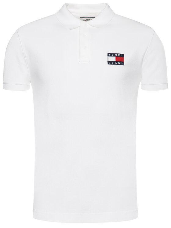 Tommy Jeans Tommy Jeans Тениска с яка и копчета Tjw Badge DM0DM07456 Бял Regular Fit