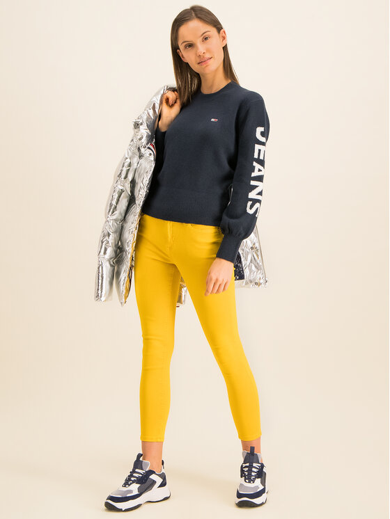 Tommy Jeans Tommy Jeans Pullover Logo Sleeve Detail DW0DW07626 Dunkelblau Cropped Fit