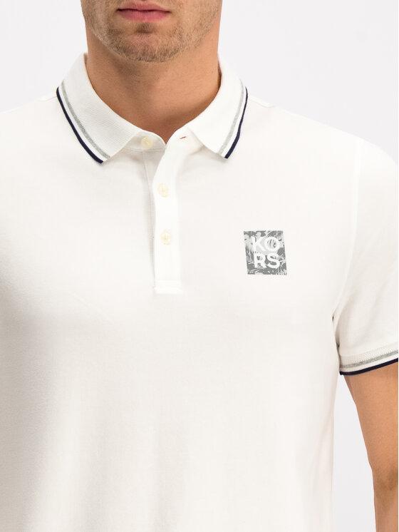 MICHAEL Michael Kors MICHAEL Michael Kors Тениска с яка и копчета CU95HHM4ZC Бял Slim Fit
