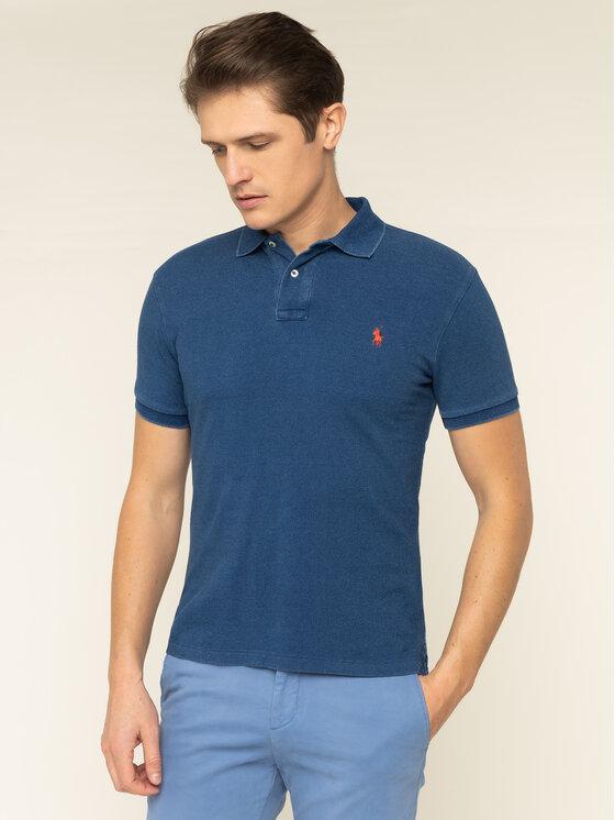 Polo Ralph Lauren Polo Ralph Lauren Тениска с яка и копчета 710536856 Тъмносин Slim Fit