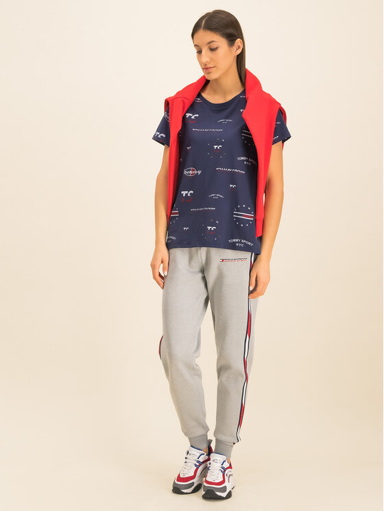 Tommy Sport Marškinėliai Graphic Tee Blend S10S100412 Tamsiai mėlyna Relaxed Fit