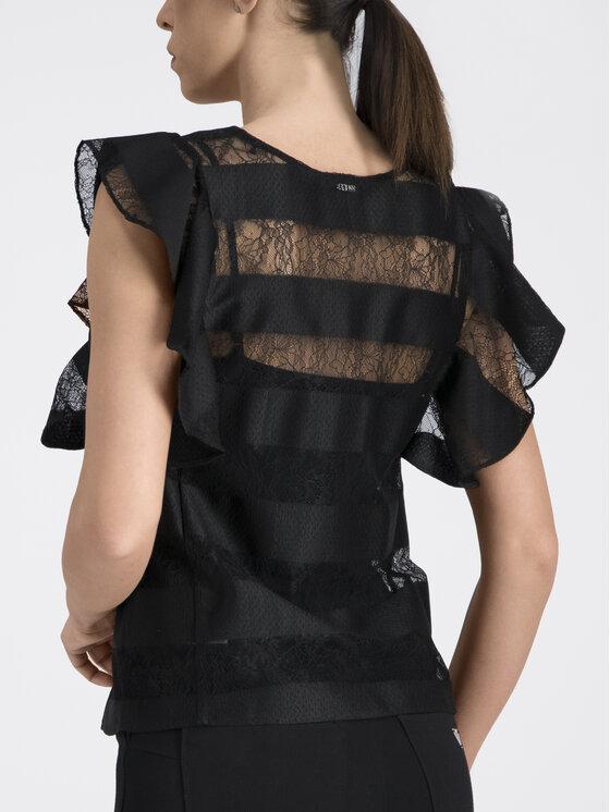 Guess Guess Блуза Stripe Pattern W92H0K WBKS0 Черен Regular Fit