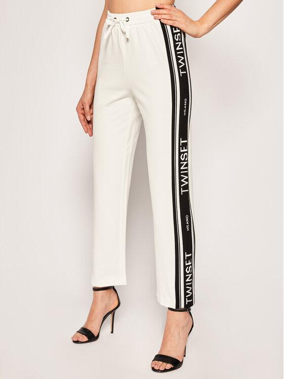 TwinSet TwinSet Spodnie dresowe 201TP2072 Biały Regular Fit