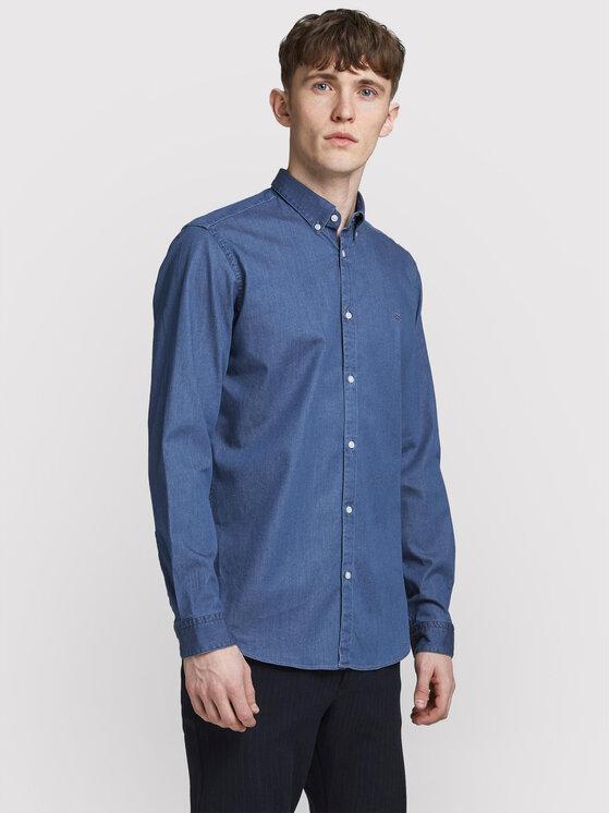 Jack&Jones PREMIUM Marškiniai Prblalogo 12185342 Tamsiai mėlyna Slim Fit
