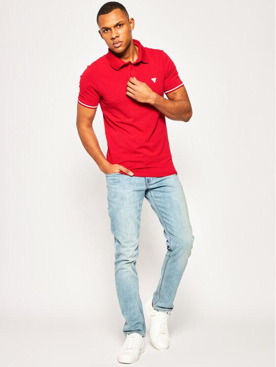 Guess Guess Polo marškinėliai Amias M02P45 J1300 Raudona Extra Slim Fit
