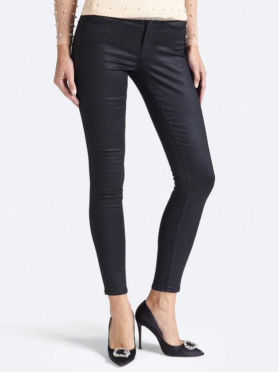 Guess Guess Kalhoty z imitace kůže Jegging Mid W93A03 D3OZ0 Černá Slim Fit