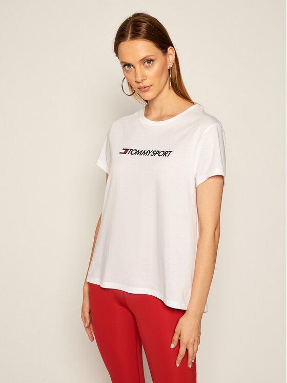 Tommy Sport Marškinėliai Chest Logo S10S100445 Balta Regular Fit