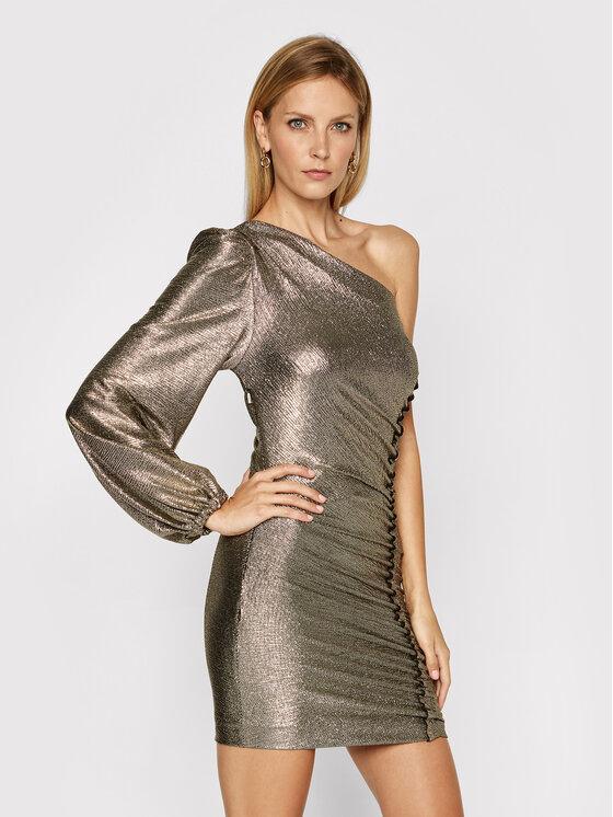 Pinko Sukienka koktajlowa Magnitudine 20202 PBK2 1B14NM 902.2 Złoty Slim Fit