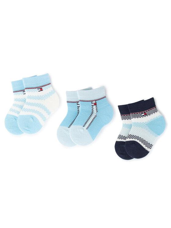 Tommy Hilfiger Tommy Hilfiger Sada 3 párů dětských vysokých ponožek 495001001 Modrá