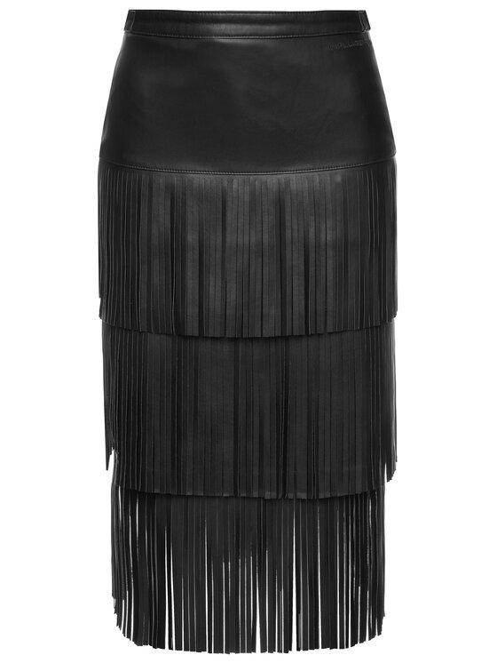 KARL LAGERFELD KARL LAGERFELD Kožená sukňa 96KW1209 Čierna Regular Fit