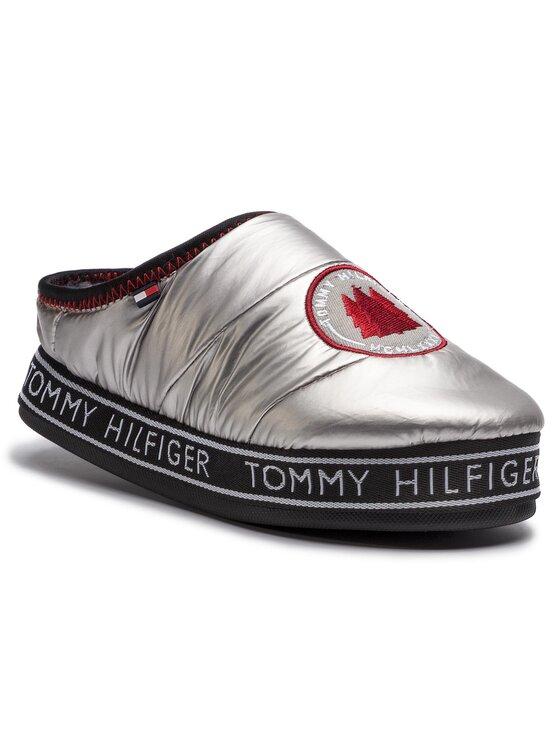 Tommy Hilfiger Tommy Hilfiger Пантофи Downslipper Patch FW0FW04182 Сребрист