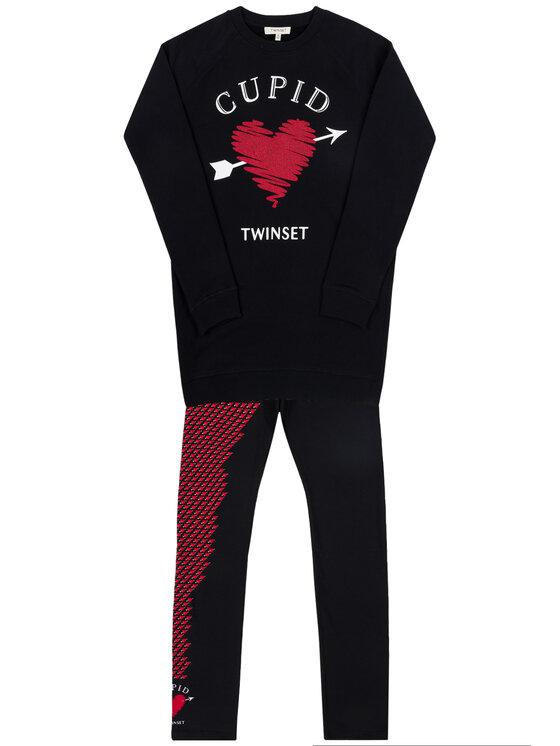 TWINSET TWINSET Σετ φόρεμα και κολάν 192GJ2550 Μαύρο Regular Fit