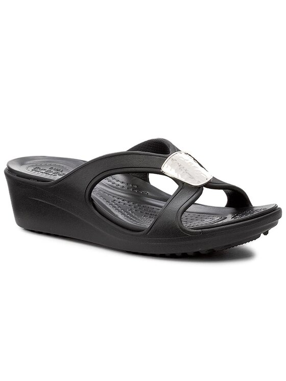 Crocs Crocs Mules / sandales de bain Sanrah Embellished Wedge 204008 Noir